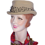 Vintage 1960s Wool Felt Riding Style Hat