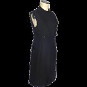 Vintage 1960s Black Wool Tailored A Line Dress