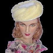 SOLD Vintage 1960s Winter White Mink Fur and Velvet Pillbox Hat