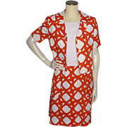 Vintage 1960s Ginala 2pc Dress and Jacket Orange and White Print