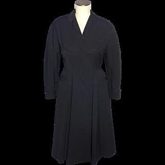 Vintage 1950s Rafi New York Black Coat Dress Forstmann Wool
