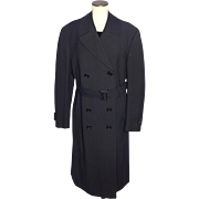 SOLD Vintage 1940s WWII Navy Military Overcoat Black Wool Joseph & Feiss