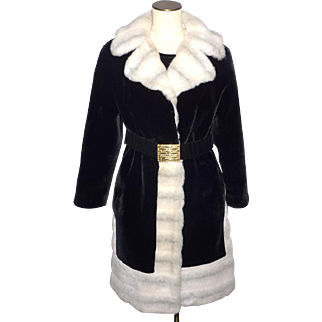 Vintage 1970s Borgazia Coat Black and White Faux Fur Styled by Russel Taylor