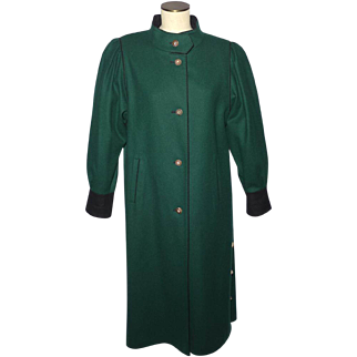 Vintage 1980s Bavaria Loden Long Coat Original Bayerischer Hunter Green