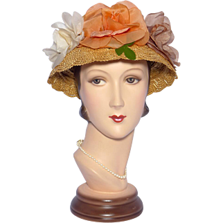 Vintage 1950s Straw Hat With Large Silk Organdy Roses