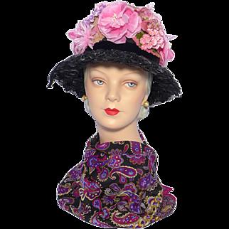 Vintage 1950s-60s Pierre Cardin Black Straw Floral Hat