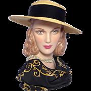 Vintage 1950s Straw Boater Style Hat Black Velvet Trim