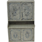 Vintage Tin Doll House Dollhouse Step Back Cupboard In Blue & White Paint