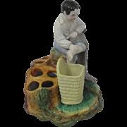 Antique Old Paris Porcelain Figural Match and Cigar Holder With Striker