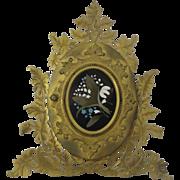 Fabulous Antique Pietra Dura Double Photo Easel Back Frame