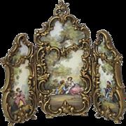Antique Austrian Enamel Gilt Bronze Dore MIniature 3 Section Screen