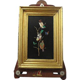 Vintage Pietra Dura Framed Plaque Of Birds