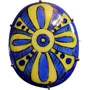 Hand-Painted Blue and Yellow Folk Art Ribbon Porcelain Brooch Pin