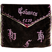 Antique Velvet Embroidered Tobacco Pouch Dated 1879