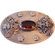 Fabulous Victorian Brass and Amber Brooch Circa 1880