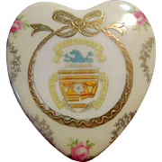 Hallmarked Porcelain Heart-Shaped Box Town of Eastbourne Victoria Austria