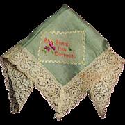 "Silk VintageWorld War I Handkerchief  Embroidered ""A PRESENT FROM LIVERPOOL"""