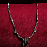 SOLD Art Deco Sterling Silver and Crystal 1920's Vintage Necklace