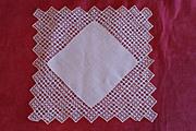 Vintage Creme Fine Cotton Tatted Wedding Handkerchief