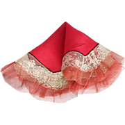Red Silk Crepe OctagonalTurn of the Century  Handkerchief with Net and Lace
