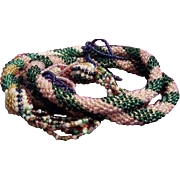 1920's Art Deco Multicolor Seed Bead Rope Lariat/Necklace
