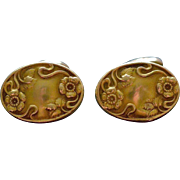 Victorian Oval Gold-Filled Cufflinks with Little Forget-Me-Not Flowers Circa 1880