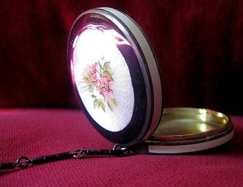 Antique Black and White Apple Blossom Enamel Guilloche Chatelaine Compact