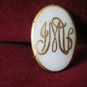 Hand-Painted Iridescent Porcelain Victorian Brooch With Gold Leaf Initials