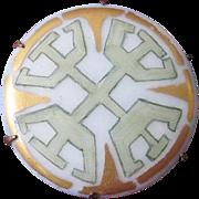 SALE Art Deco 1920's Pastel Hand-Painted Geometric Porcelain Brooch