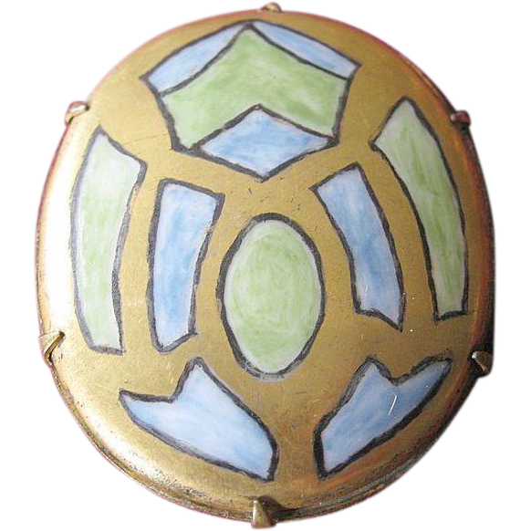 Beautiful Hand-Painted Porcelain Stained Glass Brooch Circa 1920