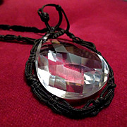 Antique Faceted Crystal Teardrop Necklace on Black Crocheted Chain