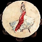Vintage Hand-Painted Flamenco DancerTambourine