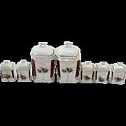 German Porcelain Lustre Seven Piece Condiment Set