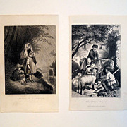 Pair 19th Century Engravings  'Caught in a Shower' & 'The Spring of Life'