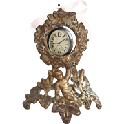 SALE Victorian Cherub Gilt Iron Pocketwatch Holder Circa 1875
