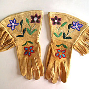 REDUCED Authentic Native American Plateau Beaded Buckskin Gauntlets