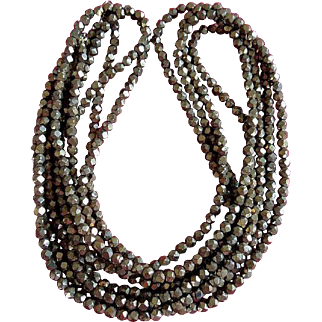1920's Iridescent Copper Beaded Flapper Necklace
