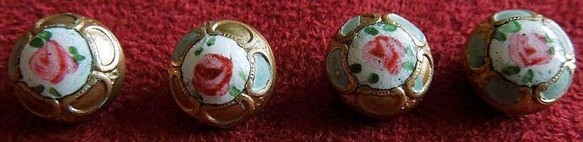 Set of  Beautiful Little French Enamel Rose and Brass Buttons