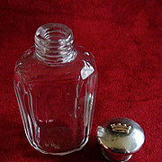 Victorian Sterling Topped Crystal Bottle with Gold Crown