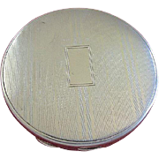 Art Deco 1920's Sterling Silver Striped Round Compact