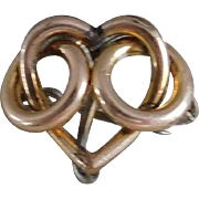SALE Gold Filled Victorian Heart Watch Pin Circa 1875