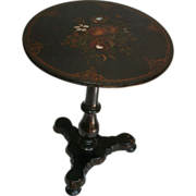 SALE 1850's Papier Mache and Mother of Pearl Inlaid Tilt Top Table