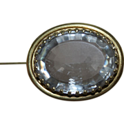 Gorgeous Crystal and Gold 19th C. Oval Brooch