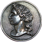 """Sterling """"Woman With Curls"""" Profile Brooch"""