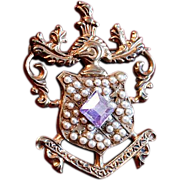 Vintage Royal Crest Medallion Brooch With Seed Pearls
