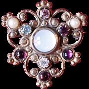 Vintage Filagree Jewel Encrusted Crest Brooch Pin