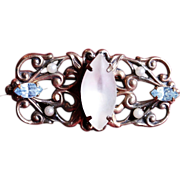 Vintage Filagree Brooch Pin with Opal Stone