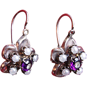 19th C. Victorian Antique Gold-Filled Amethyst & Pearl European Drop Earrings