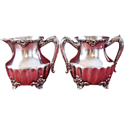 Antique Silver Sugar and Creamer Set Adelphi Silver Plate Co., New York