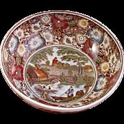 "English Ceramic Ironstone Transferware Bowl - ""Rural England"" by W.R. Midwinter, Ltd."